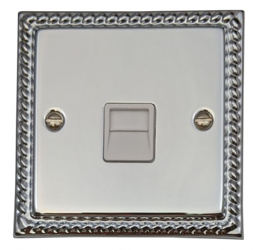 G&H MC34W Monarch Roped Polished Chrome 1 Gang Slave BT Telephone Socket